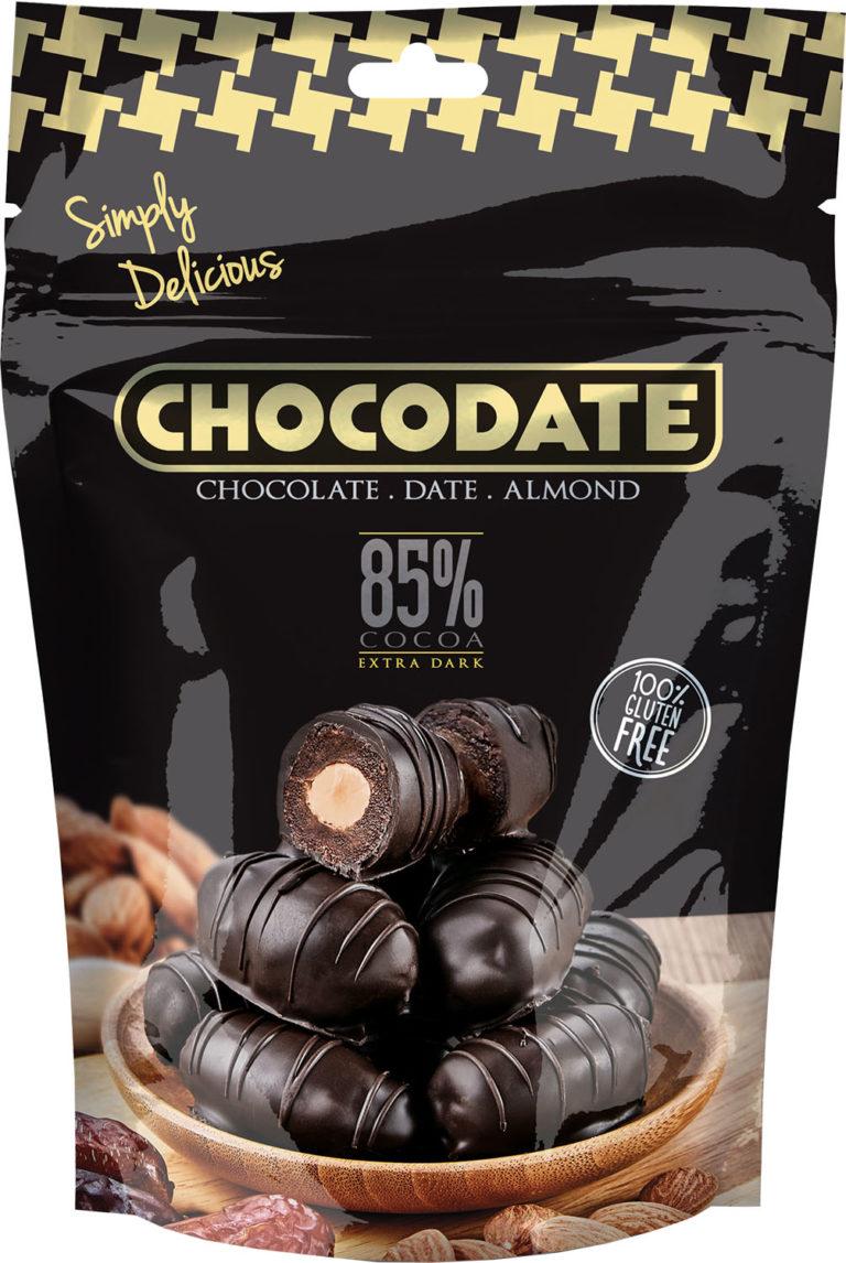 Datle s mandlí v extra hořké čokoládě 100g